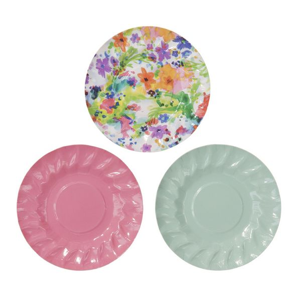 Floral fiesta mini canape plate by party camel for What is a canape plate used for