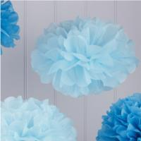 Vintage Lace Tissue Paper pom Poms Light and Dark Blue
