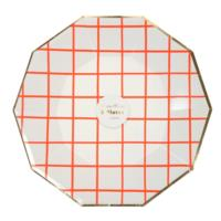 Neon Coral Grid Large Plates