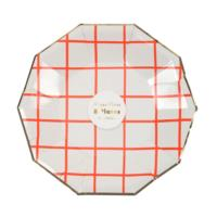 Neon Coral Grid Small Plates