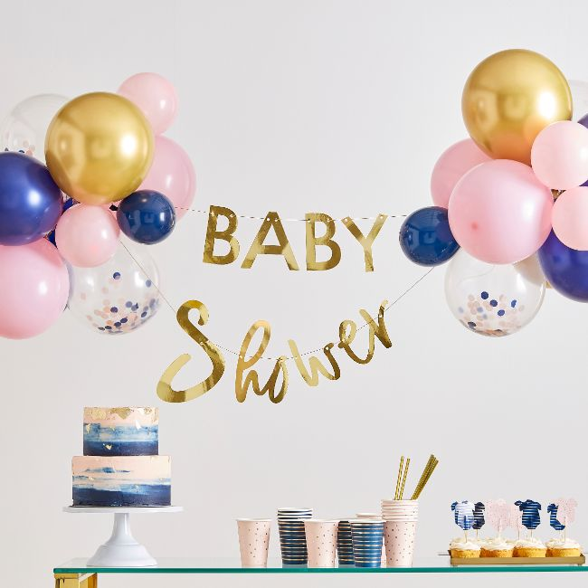 Party Camel Gold Baby Shower Banner And Balloon Decoration