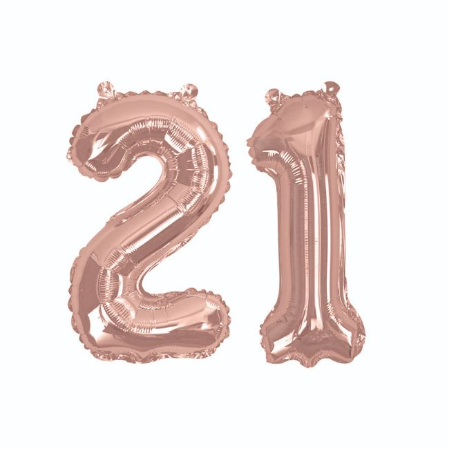 Rose Gold Foil Balloons - Number 21