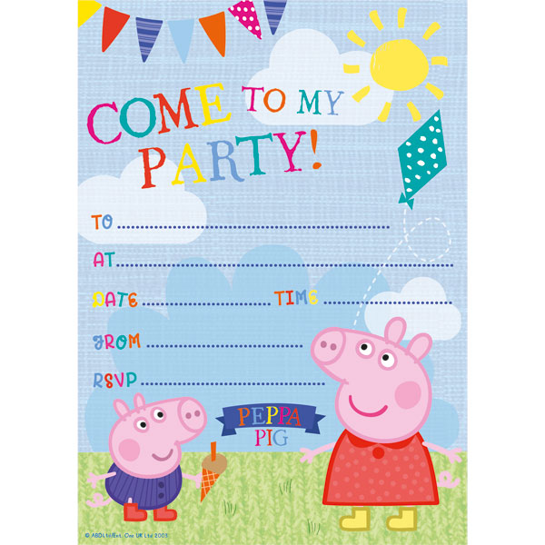 Peppa & George Party Invites