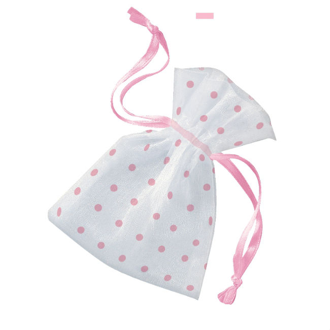 6 Organza Bag Pink Dots