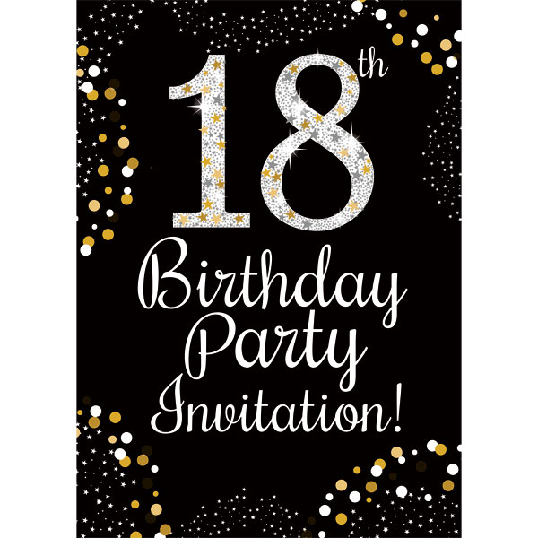 party camel 18th birthday gold invitation cards