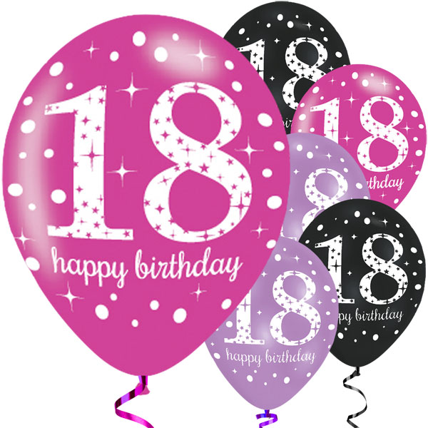 Happy 18th Birthday Pink Mix Balloons