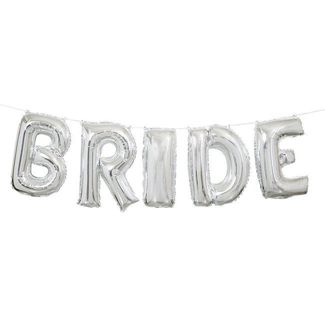 Silver Bride Letter Balloon Kit