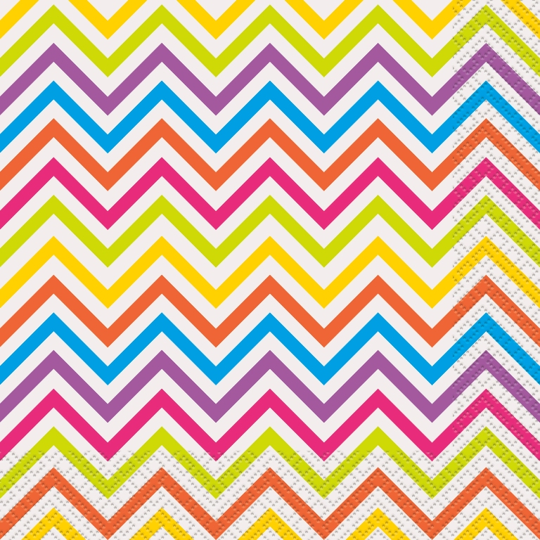 Rainbow Chevron Luncheon Napkins