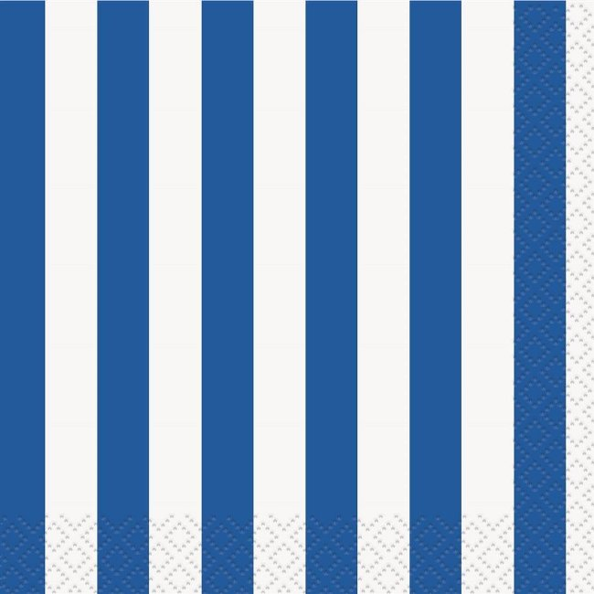 Royal Blue Striped Beverage Napkins