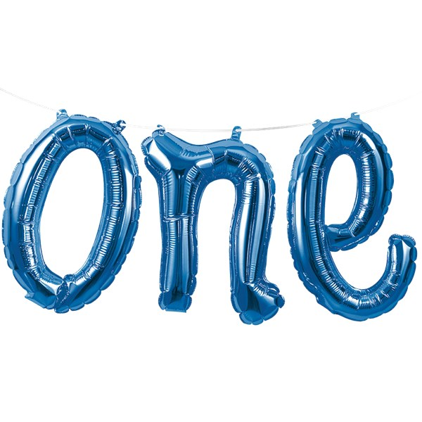 Age One Blue Balloon Bunting