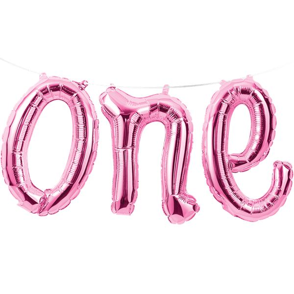 Age One Pink Balloon Bunting