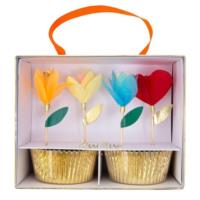 Bright Tissue Flower Cupcake Kit