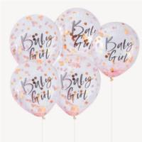 Pink Baby Girl Confetti Balloons