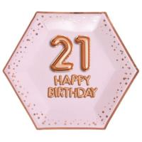 Glitz & Glamour Pink & Rose Gold Plate - Large - Age 21