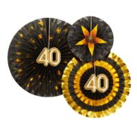 Glitz & Glamour Pinwheels - Black & Gold - 40th Birthday