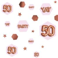 Glitz & Glamour Pink & Rose Gold Confetti Scatter - Age 50
