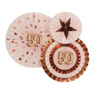 Glitz & Glamour Pinwheels - Pink & Rose Gold - 50th Birthday