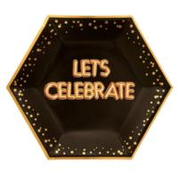 Glitz & Glamour Black & Gold Plate - Large - Lets Celebrate