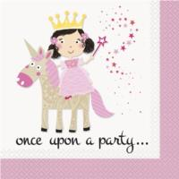 Pink Princess And Unicorn Luncheon Napkin