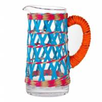 Boho Glass Pitcher With Coloured Weave
