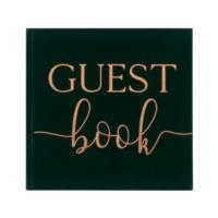 Green Velvet Bronze Foiled Guest Book