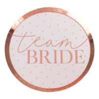 Team Bride Rose Gold & Blush Pink Plates
