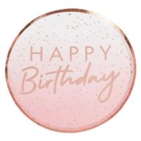 Rose Gold Ombre Happy Birthday Plates