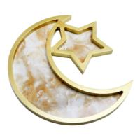 Gold Marble Wooden Crescent Moon & Star Serving Tray