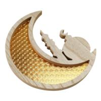 Gold Wooden Crescent Moon & Mosque Serving Tray
