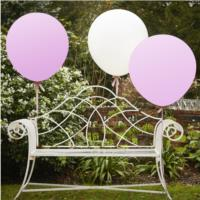 Vintage Affair - Huge Balloons White & Pink 36