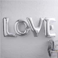 Giant Silver Love Balloons
