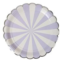 Lavender Striped Large Plate