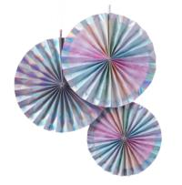 Rainbow & Iridescent  Fan Decorations