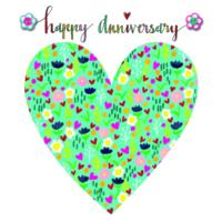 Happy Anniversary Floral Heart