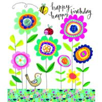 Happy Birthday Flowers Ladybird Bee