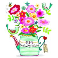 Big Birthday Wishes Teapot of Flowers