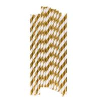Metallic Golden Stripey Straws