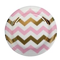 Party Plate Pink Chevron