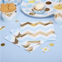 Party Napkin Blue Chevron