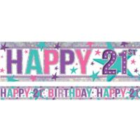 Happy 21st Birthday Pink  Banner