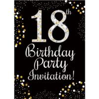18th Birthday Gold Invitation Cards