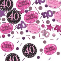 Pink Celebration Age 40 Confetti