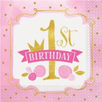 Pink & Gold 1st Birthday Napkins