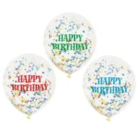 Assorted Happy Birthday Confetti Balloons