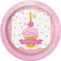 Pink & Gold 1st Birthday Plates 7