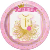 Pink & Gold 1st Birthday Plates 9