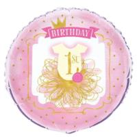 Pink & Gold 1st Birthday Foil Balloon