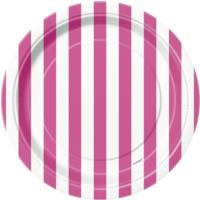 Hot Pink Striped Plates 7