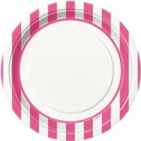 Hot Pink Striped Plates 9