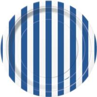 Royal Blue Striped Plates 7